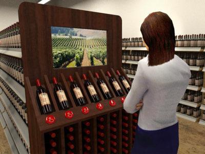 Tête de gondole cave à vin